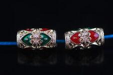 Bulk 10pcs Thai Wind Enamel Metal Beads Loose Spacer Craft Finding 13*7mm Charms