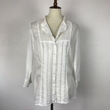Charter Club Cotton Pleated Eyelet Button Down Shirt Blouse Top Sz 12