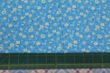 100 % Cotton fabric ~ Medium Blue with cream, blue vines & flowers ~ BTY