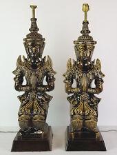 Vintage Buddha Lamps Thai Angel Teppanom Pottery Mid Century Statue Figure