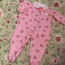 Vintage Baby B'gosh Gingham Teddy Bear Print Footed Sleeper Size Large (19-24 Lb