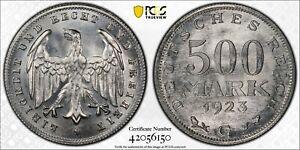 1923-G Germany 500 Mark PCGS MS66+