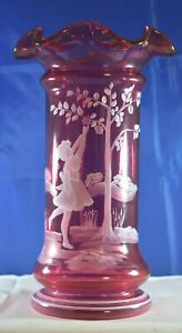 """FENTON Gorgeous CRANBERRY GLASS Vase 9"""" MARY GREGORY Painted SCENE W/Girl EXC"""
