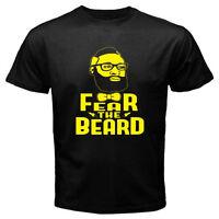 New James Harden Fear The Beard Basketball Star Men's Black T-Shirt Size S-3XL