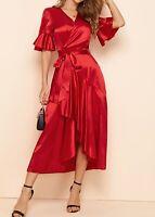 Sexy Elegant V Neck Flounce Sleeve Short Sleeve Belted Asymmetrical Satin Dress