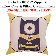 "18x18 18""x18"" 18in MINIONS BATMAN Throw Pillow Case & Cushion Disney Marvel DC"