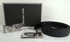 Michael Kors Men's BELT Gift Set Reversible Signature MK Leather in Black Black