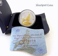 2004 ROYAL VISIT FLORIN SILVER & GOLD 1oz Overlay Coin Flag Case