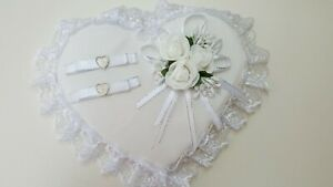 Hochzeit Ringkissen mit Spitze Farbe Weiß Neu!
