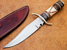 HAND FORGED STAINLESS STEEL HUNTING KNIFE-ENGRAVED STAINED CAMEL BONE-DHL-240