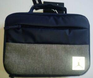 "Nike Air Jordan Insulated Two Tone School Lunch Bag Box Tote Royal Gray 11x8x3"""