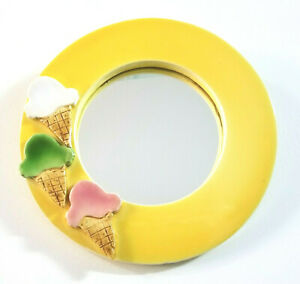 """8 1/2"""" Round Mirror Yellow Ice Cream Parlor Styled Ice Cream Cone Themed Clay"""