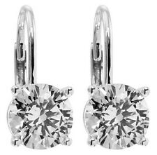 1.00 ct Women's Round Cut Diamond Drop Earrings G Color SI-1 Clarity 14 kt Cold