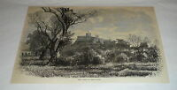 1878 magazine engraving ~ THE CASTLE OF CHAPULTEPEC, MEXICO CITY