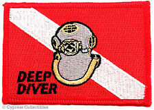 SCUBA DIVING EMBROIDERED PATCH DEEP DIVER Mark V Helmet IRON-ON MK-5 NAVY DIVE