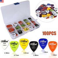 Guitar 100Pc Acoustic Electric Guitar Pick Plectrum Mixed Assorted Colors W/ Box