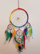 Feng Shui Dream Catcher Rainbow Feathers with Beads 160mm