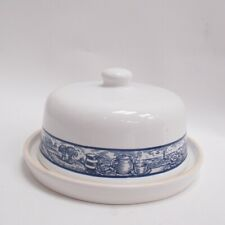 More details for st ivel butter dish premium butters ceramic round & cover blue countryside scene