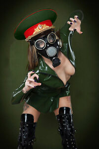 Latex Catsuit Tops Front Long Zip Army Green Long Sleeve Sexy Cool Customize .4m