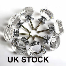 16pcs Diamond Cupboard Wardrob Door Knobs Clear Crystal Cabinet Draw Pull Handle