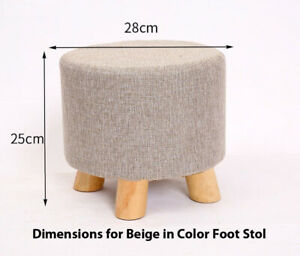 Foot  Stool Footrest Wooden Small Bench Luxury Ottoman Round Padded Seat