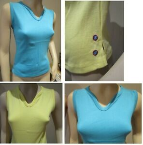 2  PACK VEST TOPS TOP - 100% COTTON - YELLOW & BLUE - SMALL - LADIES EMBROIDERED