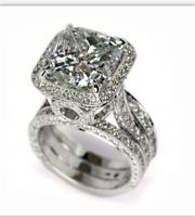 925 Silver Ring Women Men White Topaz Wedding Fashion Engagement Party Size 6-10
