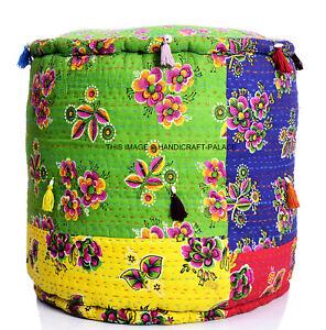 Kantha Quilt Pouf Indien Handmade Floral Print Cotton Ottoman Filled Pouf Stool