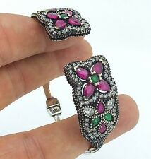 Turkish Handmade 925 Sterling Silver Authentic Ruby Ladies Womans Bracelet 188