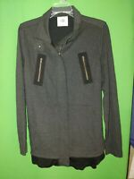 2880) CABI medium M gray black zip up knit light jacket fitted long sleeve M