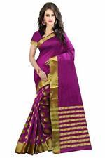 Women's Diwali Special Cotton Silk Saree With Blouse Piece Magenta Color