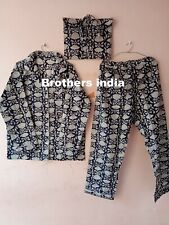 Indian Hand Made Kurta Pajamas Set 100% cotton women wear night suit