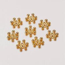 LOT de 100 PERLES intercalaires DOREES clair FLOCONS FLEURS DAISY 8mm bijoux