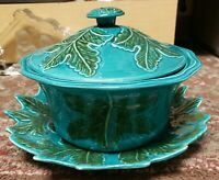 Mid Century California Pottery Leaf Pattern Lidded Casserole Dish w/ Underplate