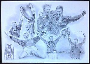 Manchester United 1998 1999 Treble Season Print Alex Ferguson Solskjaer Beckham