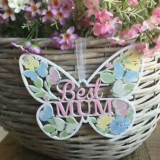 Pretty Butterfly & Flower Fretwork Mothers Day Gift Sign Best Mum Gisela Graham