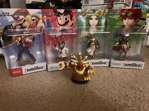 Terry + Palutena Roy + Bowser Amiibo Figures Super Smash Bros Wii U Ultimate LOT