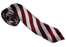 Mens Slim Skinny   Stripe Satin Burgundy & White  Tie Necktie.