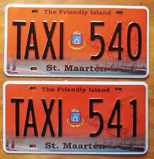 St. Maarten 2012 CONSECUTIVE NUMBER TAXI License Plates SUPERB QUALITY