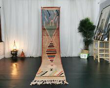 "Boujad Handmade Moroccan Runner Rug 2x10'7"" Berber Geometric Multicolor Wool Rug"