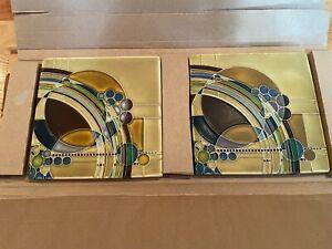 Lot of 2 Motawi Tileworks Art Tiles Frank Lloyd Wright March Balloons (8x8) Oak
