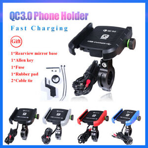 For 3.5 inch-6 inch Phone Motorcycle Handlebar Mount Holder with USB Charger