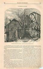 Le moulin de Mitschdorf Bas-Rhin Alsace Elsass GRAVURE ANTIQUE OLD PRINT 1870