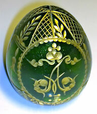 "2 1/2"" RUSSIAN FABERGE GLUSS IMPERIAL EAGLE EASTER EGG GREEN letter A"