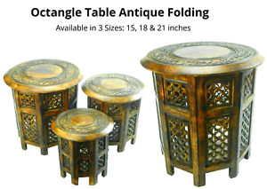 Indian Hand Carved Sheesham Jali Wooden Side Table Available in 3 Sizes