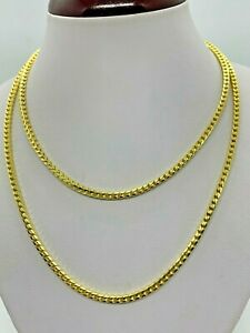 """14K Yellow Gold Plated .925 Sterling Silver Solid Franco Chain/Necklace 3mm 32"""""""