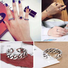 Retro Silver Plated Rings Chain Opening Rings Fashion Jewelry For Women Girls