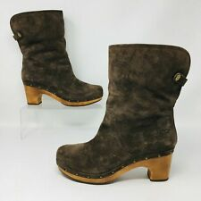 Ugg Australia Lynnea (Womens Size 8) Lined Suede Studded Heel Boots Taupe Brown
