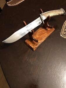 vintage Case XX hunting Bowie knife with Crown stag antler handle, brass guard.