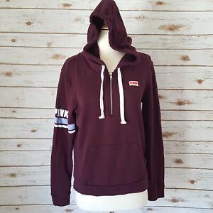 Victorias Secret Love Pink Hoodie Sweatshirt L Burgundy Stripe Sleeve 1/4 Zip